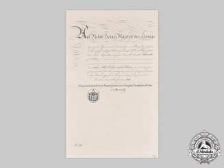 Prussia, Kingdom. A Red Eagle Order IV Class Document, 1866