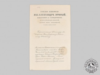 Russia, Imperial. A St. Anna Order III Class Document to Prussian Medical Councillor Dr. Tobold, 1868