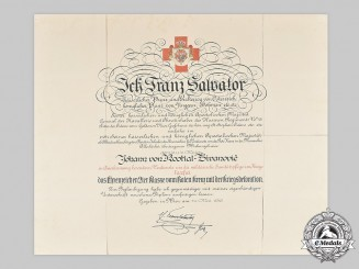 Austria, Imperial. A Red Cross II Class Honour Badge Certificate to Major Kostial-Zivanovic, 1916