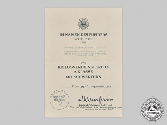 Germany, Heer. A War Merit Cross II Class with Swords Document, Signed by Commander of Army Patrol Force Southern Russia
