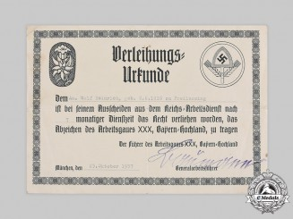 Germany, RAD. A Regional Labour Service Cap Badge Permit, 1937