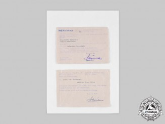 Germany, Heer. Two Accompanying Letters to Awards to Gefreiter Kurt Marschall