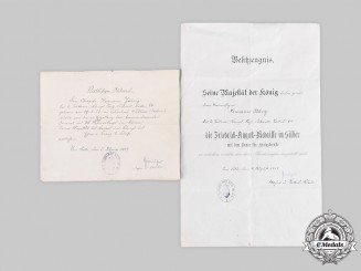 Germany, Imperial. Two First War Award Certificates to NCO Hermann Jährig, 1917