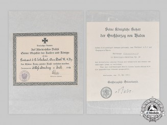 Germany, Imperial. Two First War Award Documents to Leutnant Eberhard (Zähringer Lion)