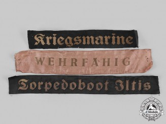 Germany, Kriegsmarine. A Lot of Kriegsmarine Cap Tally Ribbons