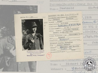 Germany, SS. A SS HIAG Tracing Service File for SS-Reiter Helmut Paetzold