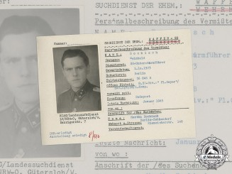 Germany, SS. A SS HIAG Tracing Service File for SS-Untersturmführer Reinhold Bockisch