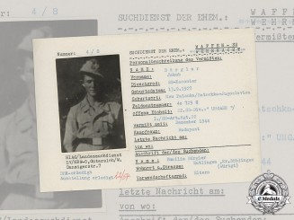 Germany, SS. A SS HIAG Tracing Service File for SS-Kanonier Jakob Bürgler