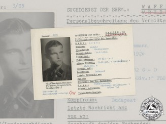 Germany, SS. A SS HIAG Tracing Service File for SS-Sturmmann Rudolf Schön