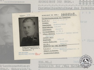 Germany, SS. A SS HIAG Tracing Service File for SS-Rottenführer Paul Holzwarth