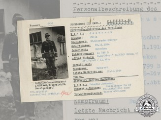 Germany, SS. A SS HIAG Tracing Service File for SS-Oberscharführer Willi Janousch