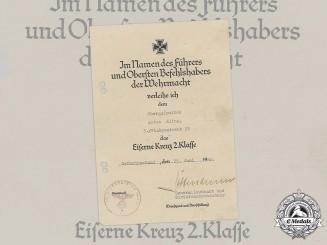 Germany, Wehrmacht. An 1939 Iron Cross II Class Award Document to Obergefreiter Anton Kling