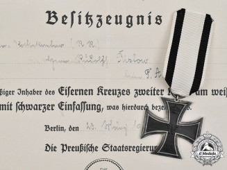 Germany, Imperial. A 1914 Iron Cross II Class for Non-Combatants, with Document, to Rudolf Ristow