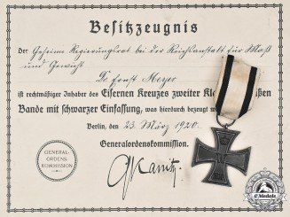 Germany, Imperial. A 1914 Iron Cross II Class for Non-Combatants, with Document, to Dr. Ernst Meyer