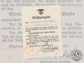 Germany, NSDAP. An Award Document for an Honour Badge of the Old Guard to Josef Dietrich