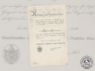 Germany, Imperial. A Prussian General Honour Badge Certificate to Postal Conductor Lau, 1914