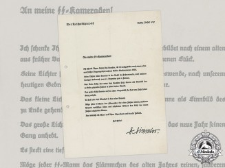 Germany, SS. An Accompanying Letter to a Yule Lantern by Reichsführer-SS Himmler, 1939