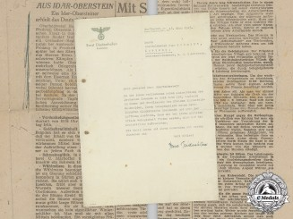 Germany, Heer. A Congratulatory Letter by NSDAP District Leader to Oberfeldwebel Hugo Schmidt (DKiG)