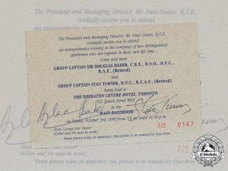 Canada, United Kingdom. A Signed Invitation by Second War Group Captains Sir Douglas Bader CBE, DSO, DFC, RAF and Stan Turner DFC, RCAF 1980