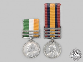 United Kingdom. Two South African Medals to Pte Richard Darnell, 1902.
