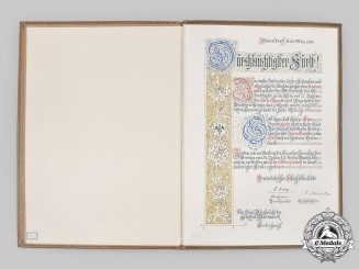 Germany, Imperial. A Congratulatory Document to Bismarck on his 77th Birthday from the Association of Iron & Steel Workers, 1892