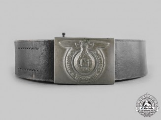 Germany, SS. An Early Nickel SS Enlisted Man's Buckle with SS Marked Belt, by Overhoff & Cie