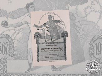 Germany, Imperial. A 50th Anniversary of Gymnastics League Stuttgart Certificate, 1917