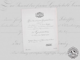 Germany, Imperial. A Bremen Hanseatic Cross Certificate to Hauptmann and Battalion Leader Schiffer, 1917