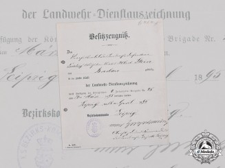 Germany, Imperial. A Saxon Landwehr Long Service Award II Class Document, 1895