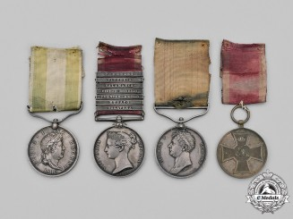 United Kingdom. A Rare Napoleonic Wars Guelphic Medal Group to George Kahrmann, 1st Hussars, KGL, for Gallantry at Salamanca.