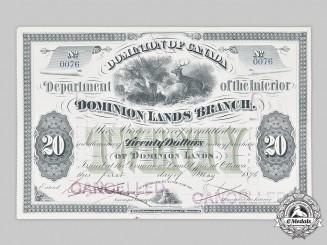 Canada, Dominion. An 1876 Dominion of Canada $20 Land Scrip Metis