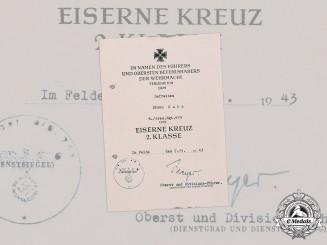 Germany, Heer. A 1939 Iron Cross II Class Award Document to Gefreiter Bruno Kutz