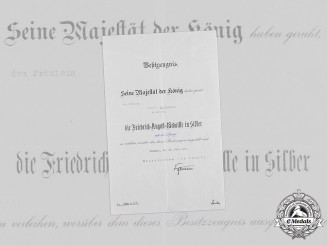 Germany, Imperial. A Saxon Friedrich August Medal Certificate to Female Recipient, 1917