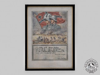Germany, Third Reich. A Commemorative Certificate for Military Service in the Wehrmacht