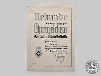 Germany, TeNo. A Large 1922 TeNo Honour Badge Certificate to Carl Dieth, 1935