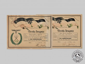 Germany, Heer. Two Marksmanship Certificates on Wooden Support to Pionier Harborth, 1935