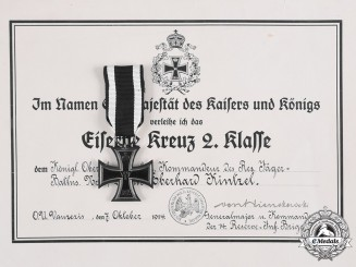 Germany, Imperial. A 1914 Iron Cross II Class  with Document to Oberstleutnant and Commander Eberhard Kintzel