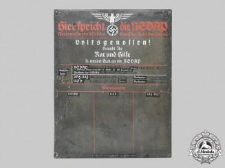 Germany, NSDAP. A NSDAP Party Announcement Sign, c.1935