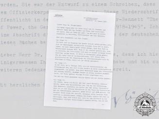 Germany, Kriegsmarine. A Signed Postwar Letter from Großadmiral Karl Dönitz