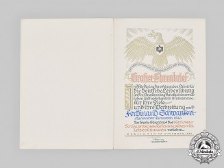 Germany, Third Reich. A Large 1941 NSRL Honour Document with Signature of von Tschammer und Osten