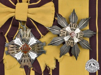 Lithuania, Republic. An Order of Gediminas, I Class Set, by Huguenin Freres, c. 1930