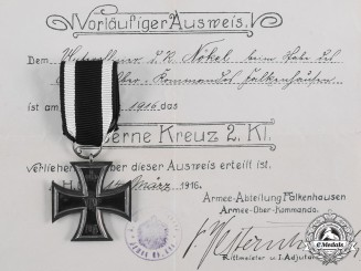 Germany, Imperial. A 1914 Iron Cross II Class by Wagner with Award Document to Unteroffizier D. R. Nokel
