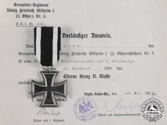 Germany, Imperial. A 1914 Iron Cross II Class with Award Document to Major Lieber
