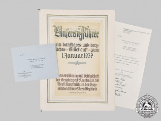 Germany, Third Reich. A New Year's Card to A.H. by Graphite Company Kropfmühl, 1936