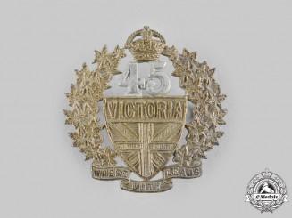Canada, Dominion. A Pre-First War 45th Victoria Regiment Militia Cap Badge