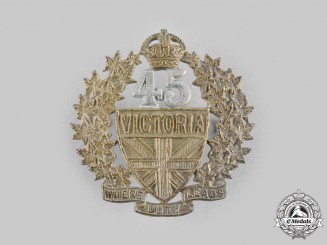 Canada, Dominion. A Pre-First War 45th Victoria Regiment Militia Cap Badge
