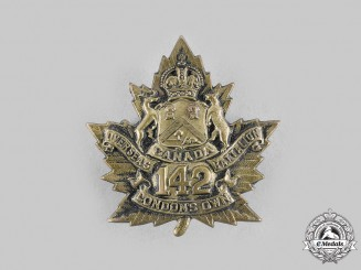 """Canada, CEF. A 142nd Infantry Battalion """"London's Own"""" Cap Badge"""