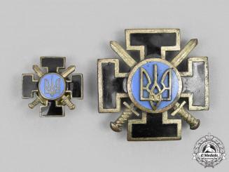 Ukraine, Republic. Two Postwar Armed Forces Combatant's Crosses, No. 01958
