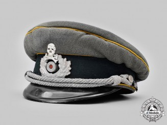 Germany, Heer. A Kavallerie-Regiment 13 Armoured Reconnaissance Officer's Visor Cap, by Willy Sprengpfeil
