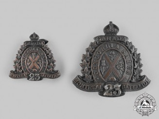 "Canada, CEF. A 23rd Infantry Battalion ""Montreal Battalion"" Officer's Cap and Collar Badge"